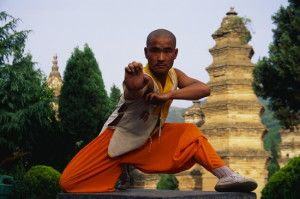 Shaolin Buddhist Monk Practicing Kung Fu